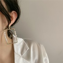 new simple and fashionable baroque pearl metal splicing square copper plated earrings wholesale NHYQ252499