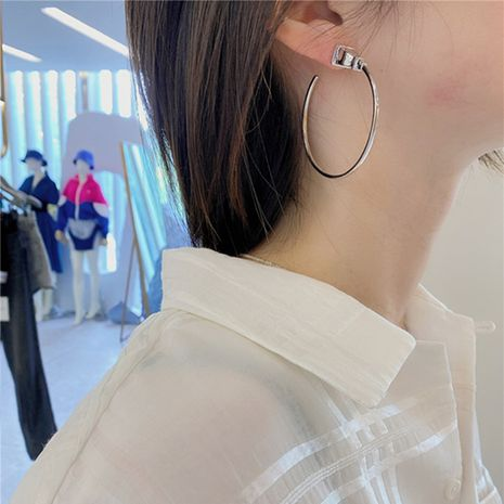 Fashion metal retro plug hiphop style big fashionable alloy earrings for women wholesale NHYQ252509's discount tags
