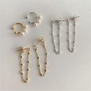 Korean simple ear bone clip twopiece metal tassel pearl  earrings set wholesale NHYQ252512