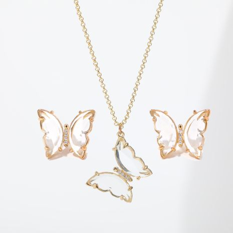 Fantasy transparent crystal glass butterfly alloy clavicle chain necklace earrings set   NHLL252534's discount tags