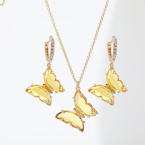 Crystal glass butterfly niche fashion golden clavicle chain necklace earrings set for women jewelry NHLL252535's discount tags