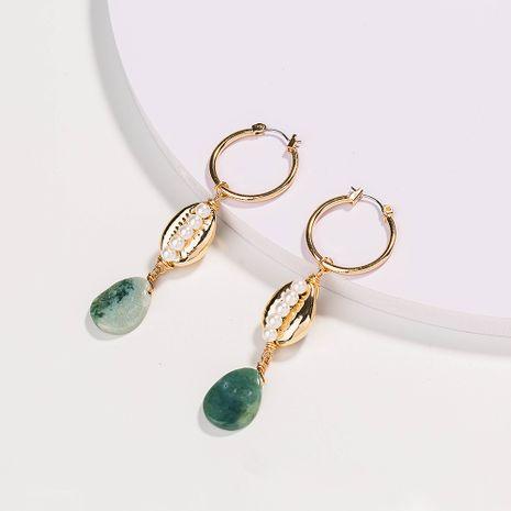Boucles d'oreilles en alliage d'agate verte en forme de U plaqué or en forme de U en gros NHAN252539's discount tags