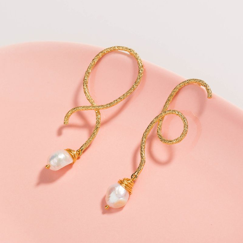 natural freshwater bread pearl earrings gold wire surround ear hook wholesale NHAN252547