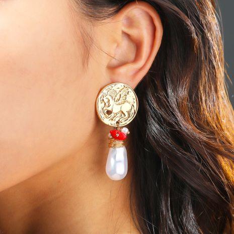 mode vente chaude or crochet d'oreille vide boucles d'oreilles de perles d'eau douce corail naturel en gros NHAN252554's discount tags