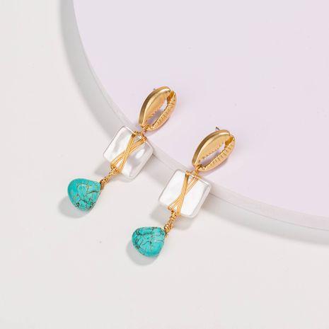 mode populaire 18K coquille naturelle perle verte boucles d'oreilles en pierre naturelle en gros NHAN252560's discount tags