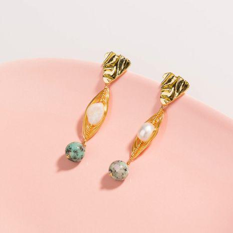 boucles d'oreilles en perles d'eau douce exagérées nouveau triangle doré fleur verte naturelle NHAN252567's discount tags