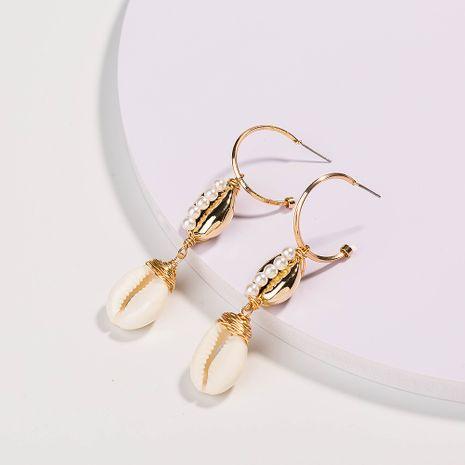 Vente en gros de boucles d'oreilles en forme de C en forme de C en perle blanche pure NHAN252568's discount tags