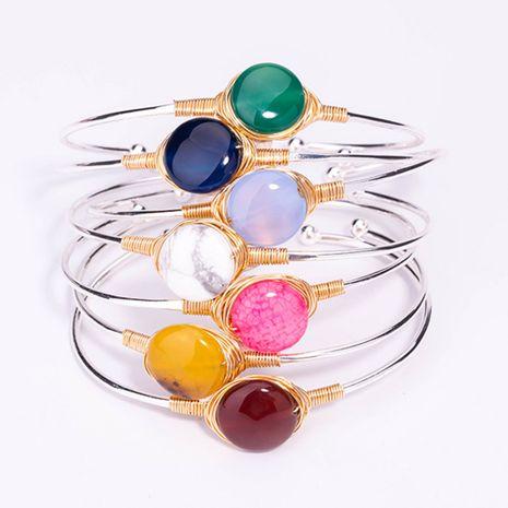Vente en gros de bracelet en argent en pierre naturelle irrégulière multicolore NHAN252577's discount tags