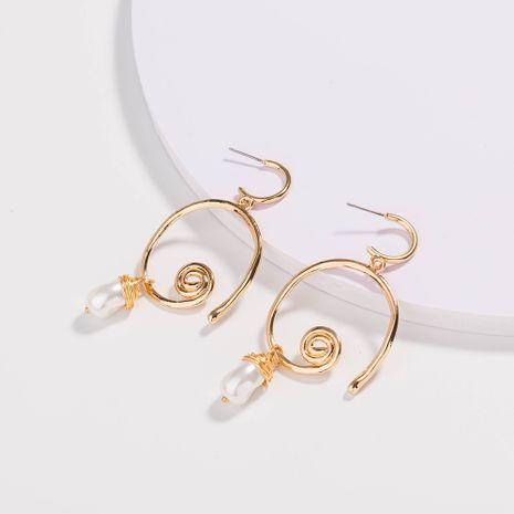 Boucles d'oreilles rondes irrégulières Boucles d'oreilles en perles d'eau douce naturelles en gros NHAN252579's discount tags