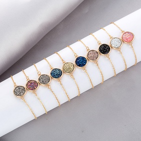 Korean round crystal cluster simple natural stone alloy bracelet  NHAN252581