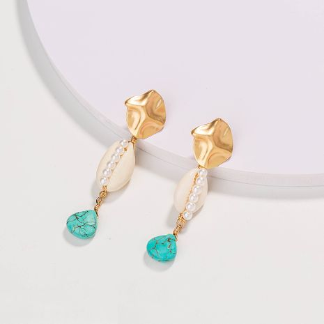 hot-selling fashion beach earrings natural shell green drop stone earrings wholesale NHAN252583's discount tags