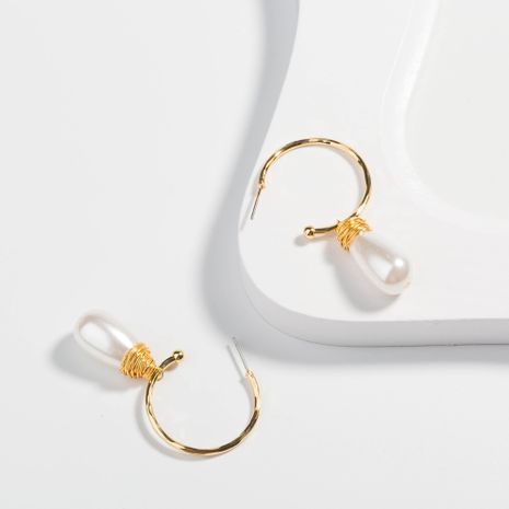 fashion C-shaped embossed  hand-woven pure white water drop pearl earrings NHAN252584's discount tags