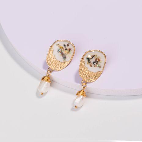 Boucles d'oreilles en or mat ovale blanc couleur goutte d'huile Boucles d'oreilles en perles d'eau douce naturelles NHAN252591's discount tags