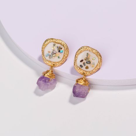 Venta caliente nuevo color concha rota púrpura pendientes de piedra natural al por mayor NHAN252594's discount tags