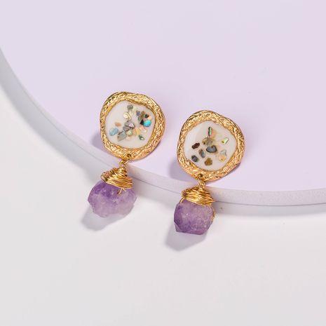 vente chaude nouvelle couleur coquille cassée boucles d'oreilles en pierre naturelle violet en gros NHAN252594's discount tags