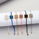 Fashion square drawstring natural stone resin pendant Korean simple alloy bracelet  NHAN252595