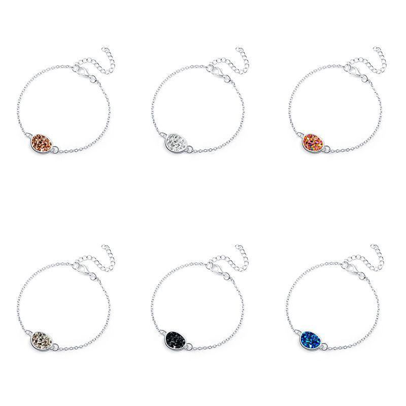 Fashion geometric multicolor natural stone simple versatile alloy bracelet  NHAN252600