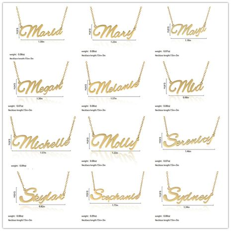 Fashionable stainless steel customizable English alphabet name ladies necklace wholesale NHJJ252607's discount tags