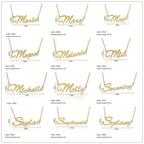 Collar de las señoras del nombre del alfabeto inglés personalizable de moda de acero inoxidable al por mayor NHJJ252607's discount tags