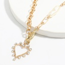 Pearl Alloy Diamond Heartshaped Pendant European and American womens Necklace  NHJE252615