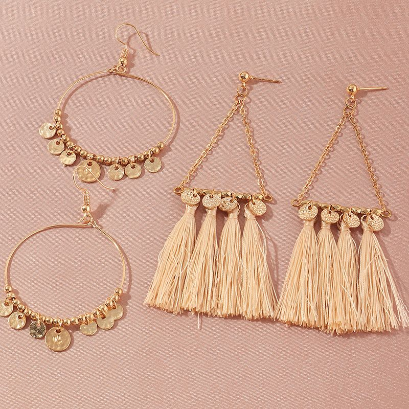 geometric disc pendant ethnic style long tassel earrings wholesale NHNZ252630