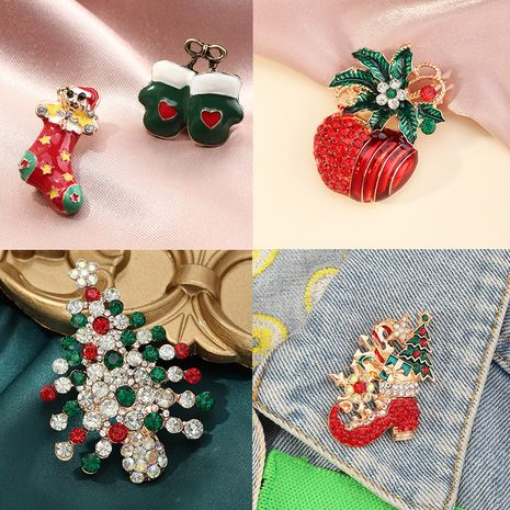 Fashion Ornaments Cartoon Fun Christmas Pin Micro-inlaid Color Rhinestone brooch  NHNZ252638's discount tags