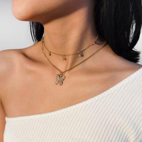 collier clavicule micro-clavicule collier papillon simple serti personnalisé NHXR252639's discount tags