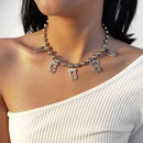 Creative round bead clavicle necklace minimalist  alloy tooth womens necklace  NHXR252641