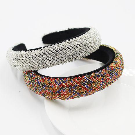 New Baroque style sponge stripe full of diamonds color wild ladies headband  NHWJ252655's discount tags