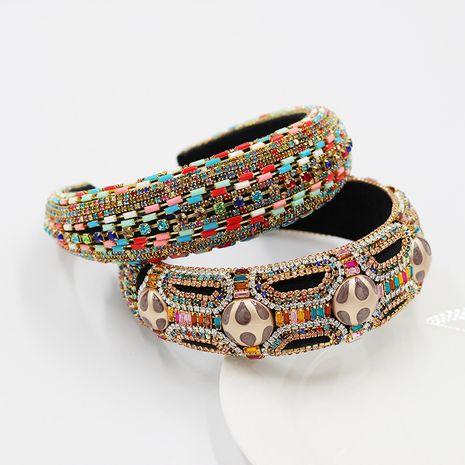 New exaggerated baroque style sponge  full of diamond geometric headband  NHWJ252658's discount tags