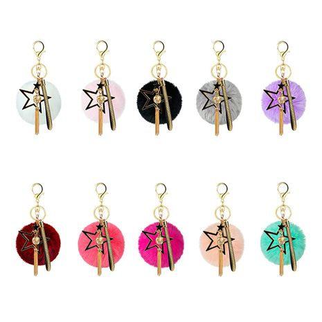 hot alloy five-pointed star diamond-studded small golden ball leather strap tassel hair ball keychain pendant bag accessories NHAP252668's discount tags
