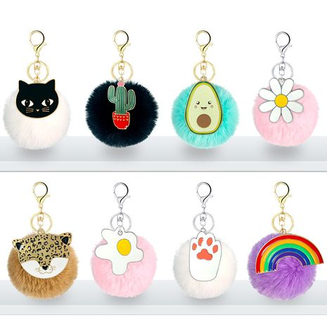hot alloy dripping oil cartoon animal and plant keychain pompom hair ball pendant lady bag accessories NHAP252669's discount tags
