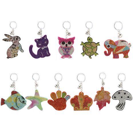 nouvelle couleur diamant-clouté non-tissé tissu porte-clés pendentif style dessin animé dames sac ornements cadeaux exquis NHAP252670's discount tags
