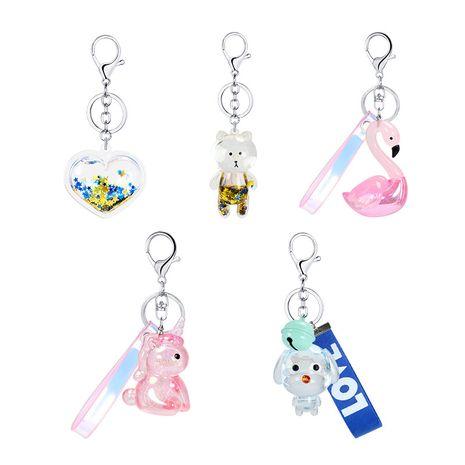 Porte-clés licorne ours cygne licorne en cristal transparent multicolore NHAP252681's discount tags
