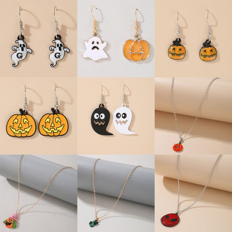 Halloween funny  pumpkin ghost bat butterfly pendant women's necklace wholesale NHGY252684's discount tags