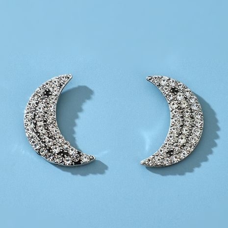 new simple shiny alloy full diamond moon earring wholesale NHGY252685's discount tags