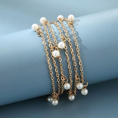 nueva moda simple hueco versátil pulsera colgante de aleación de perlas de múltiples capas para mujeres NHGY252686's discount tags