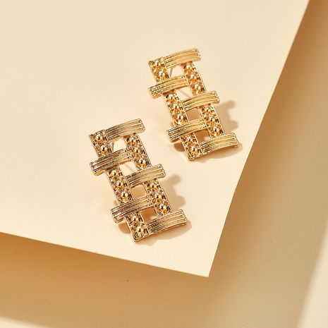 new Korea new alloy bamboo-shaped geometric hollow square earrings wholesale NHGY252687's discount tags