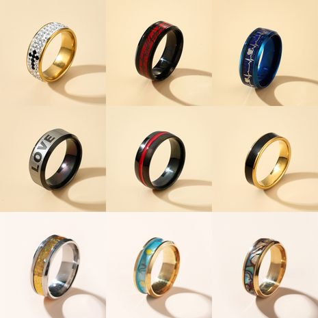 new color punk couple ring fashion love ring  wholesale NHGY252692's discount tags