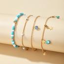 nouveau style Bohme perles de riz couleur pierre mode simple ensemble de cheville en alliage toile  cinq branches NHGY252696
