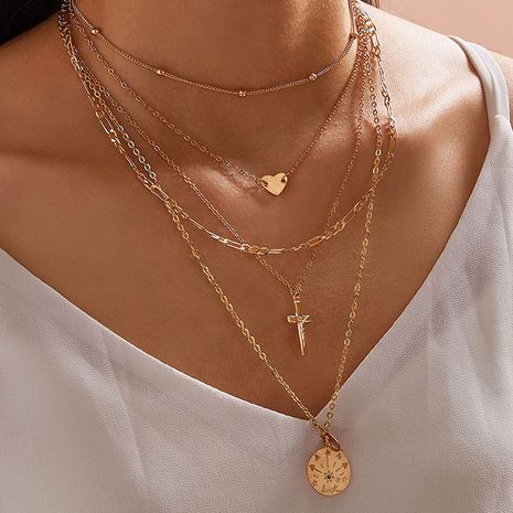 love cross necklace bohemian heart pendant multi-layered necklaces NHGY252695's discount tags