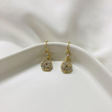 Geometric round women's simple  diamond  Korean cross earrings wholesale NHWF252701's discount tags
