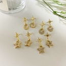 Pearl and diamond fivepointed star 925 silver needle geometric earrings wholesale NHWF252704