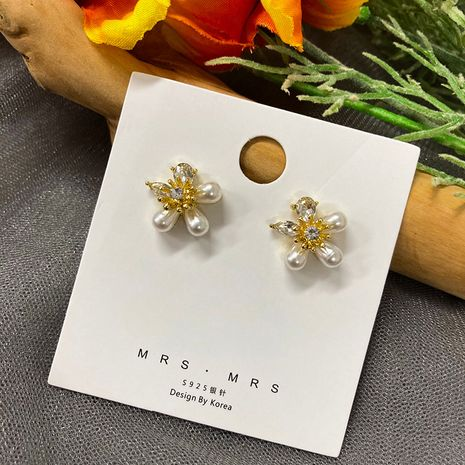 New style pearl flower retro elegant small diamond 925 silver needles earrings wholesale NHWF252709's discount tags