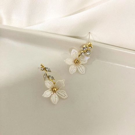 flower diamond 925 silver needle beautiful earrings wholesale NHWF252710's discount tags