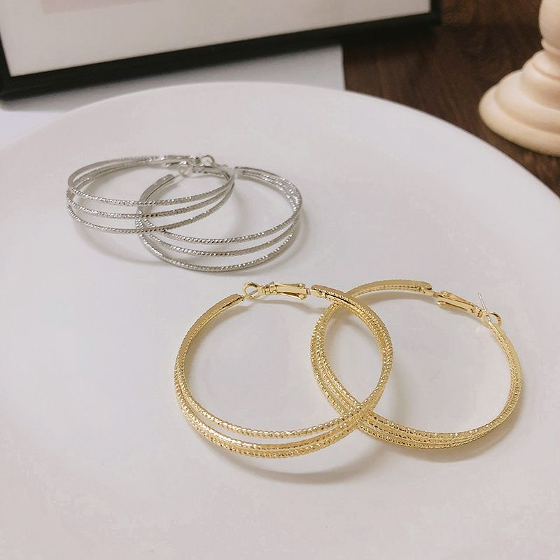 Fashion big circle geometric round  925 silver needles earrings wholesale NHWF252713