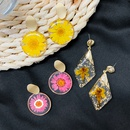 Fashion geometric flower 925 silver needle dried flower amber earrings wholesale NHWF252715