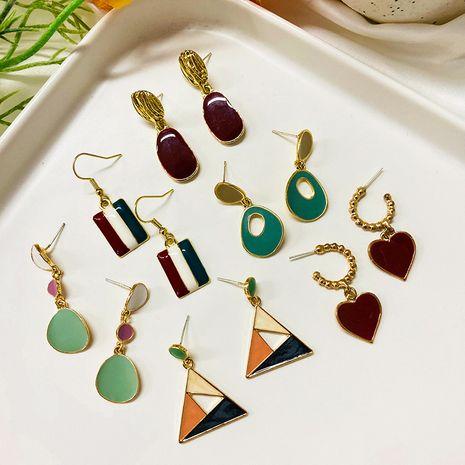 925 argent aiguille géométrique élégant rétro boucles d'oreilles contraste coréen en gros NHWF252720's discount tags