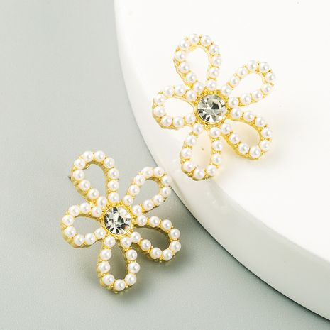 Korean new fashion flower pearl rhinestone simple S925 silver needle stud earrings wholesale NHLN252733's discount tags