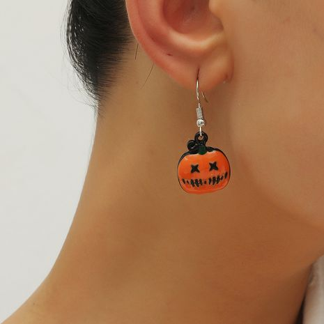 Fashion niche halloween funny snooker pumpkin ghost 3-piece alloy earrings set NHKQ252740's discount tags